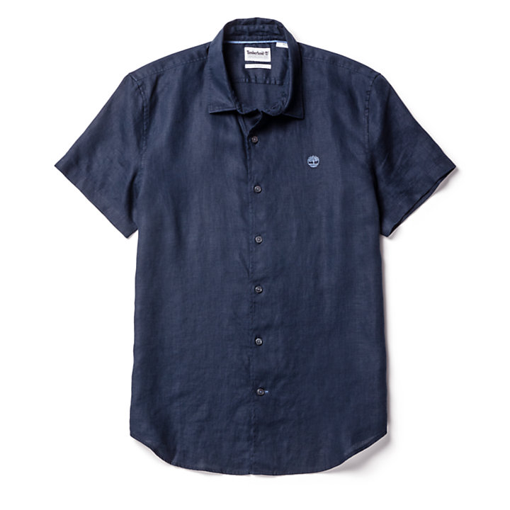 Mill River Linen Shirt for Men in Navy-