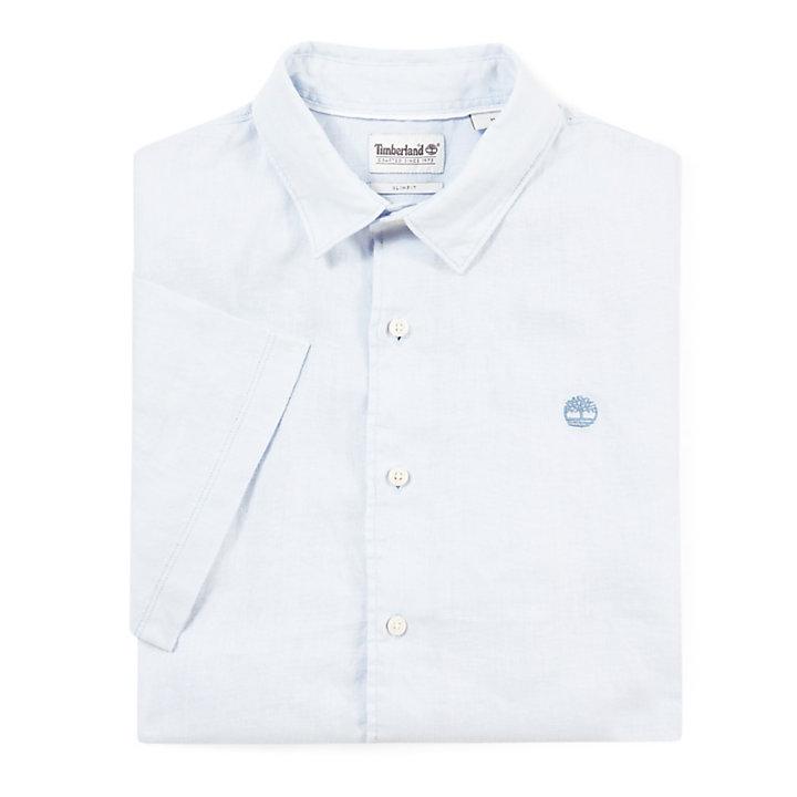 Camisa de Lino Mill River para Hombre en Azul Claro-