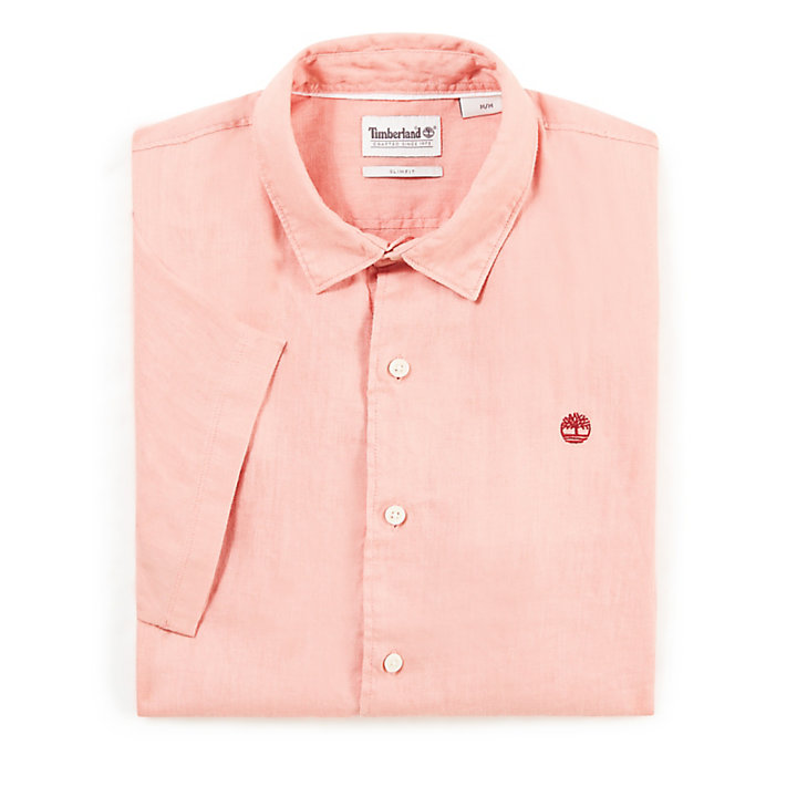 Mill River Linen Shirt for Men in Pink-