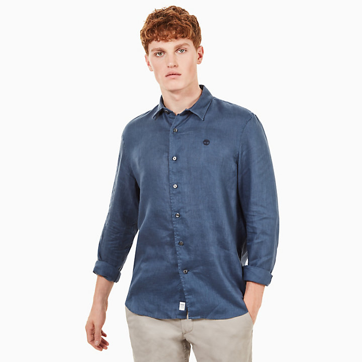 Mill River Linen Shirt for Men in Indigo-