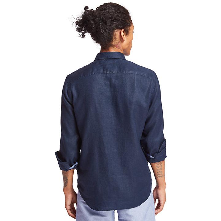 Chemise en lin Mill River pour homme en bleu marine-