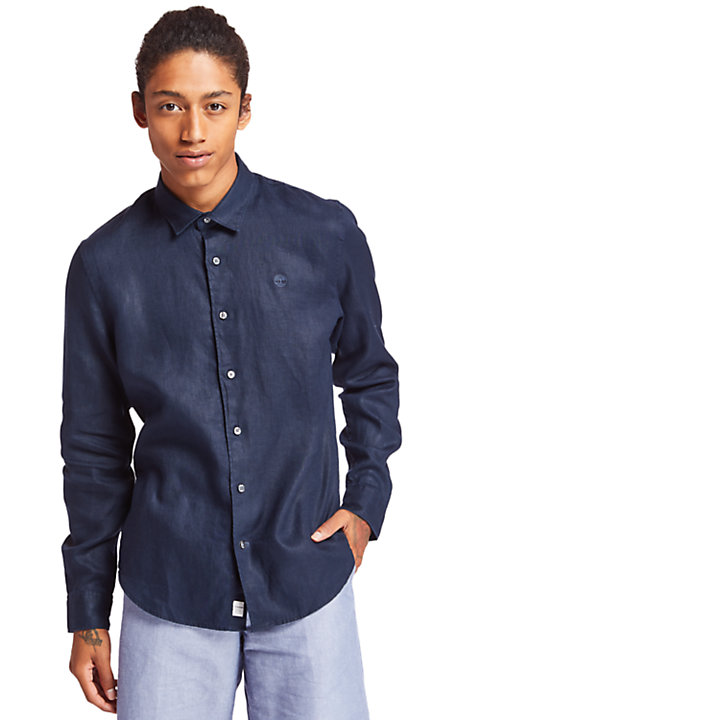 Camisa de Lino Mill River para Hombre en marino-