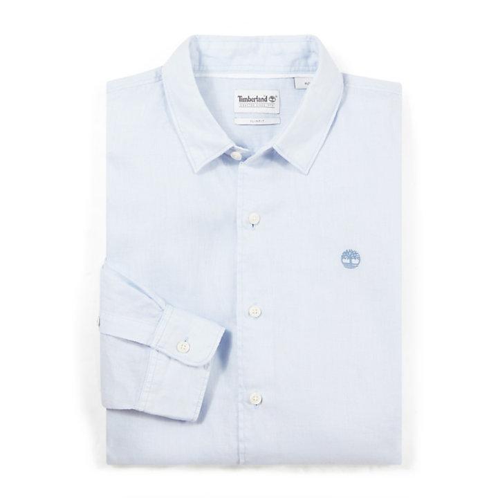 Camicia da Uomo in Lino Mill River Blu Chiaro-