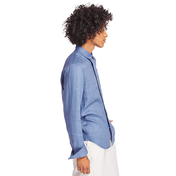 Mill River Linen Shirt for Men in Blue-