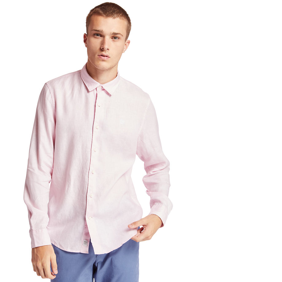 Timberland Mill River Linen Shirt For Men In Pink Pink, Size M