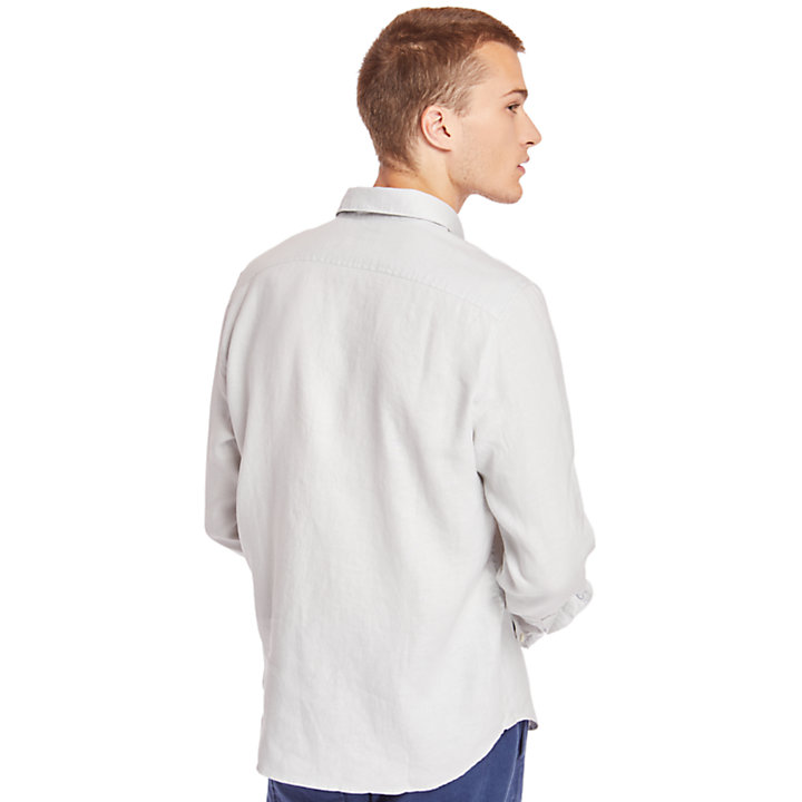 Mill River Linen Shirt for Men in Light Grey-