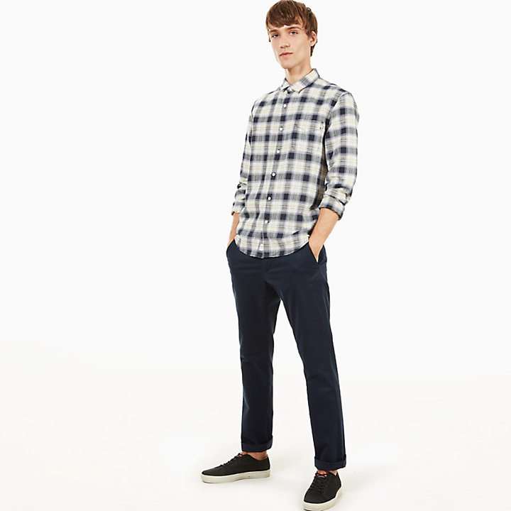 Mill River Eclectic Linen Shirt for Men in Navy-