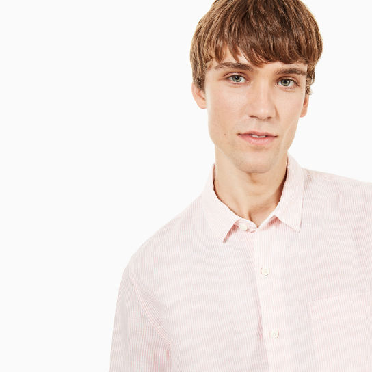 Mill River Eclectic Linen Shirt for Men in Pink | Timberland