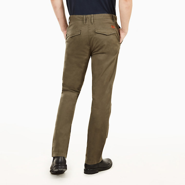 Squam Lake Poplin Chinos for Men in Dark Green-