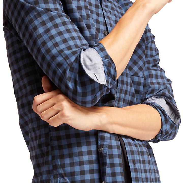 Back River Slim Check Shirt for Men in Navy-