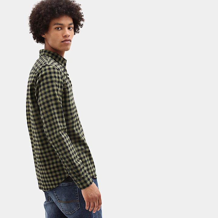 Camicia Slim a Quadri da Uomo Back River in verde-