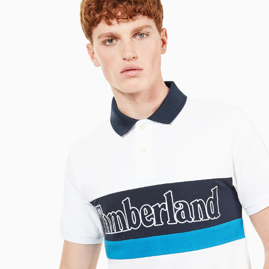Millers River Large Logo Polo Shirt for Men in White | Timberland