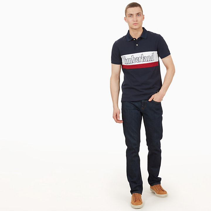 Millers River Large Logo Polo Shirt for Men in Navy-