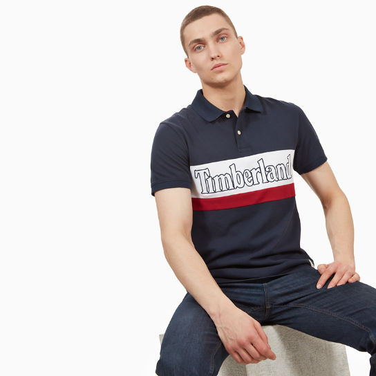 Millers River Large Logo Polo Shirt for Men in Navy | Timberland