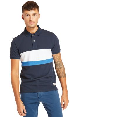 Millers+River+Colour+Block+Poloshirt+voor+Heren+in+marineblauw