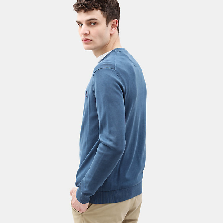 Manhan River Cotton Sweater for Men in Blue-