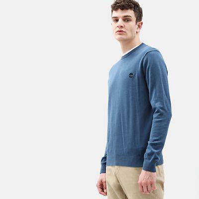 Manhan+River+Katoenen+Sweater+voor+Heren+in+blauw