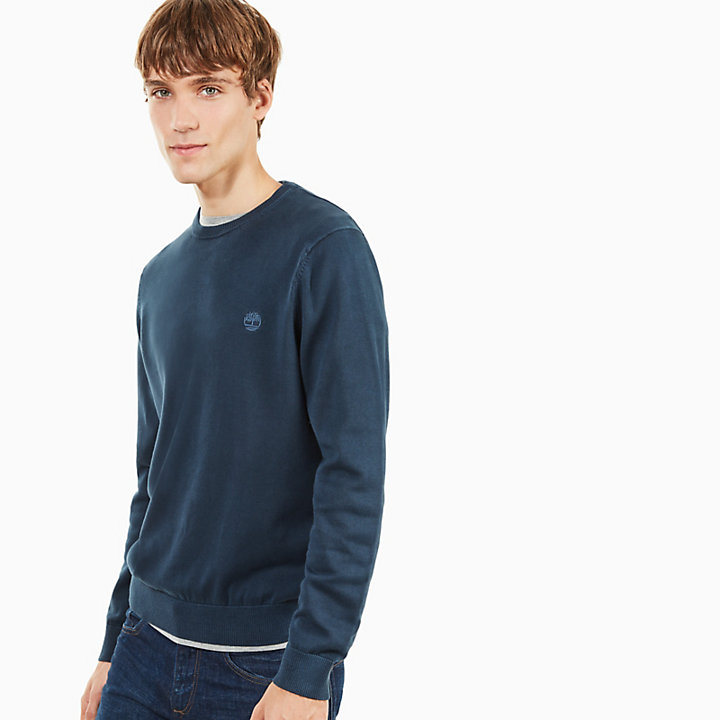 Manhan River Cotton Crew Neck Sweater in Navy-