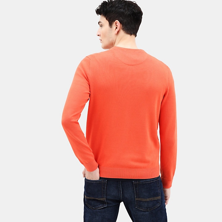 Pull en coton Manhan River pour homme en orange-
