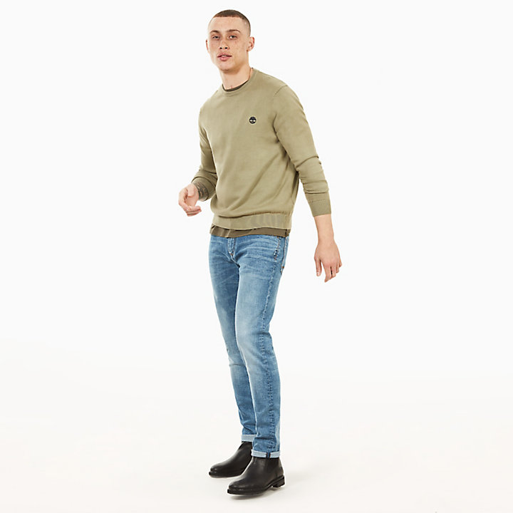 Manhan River Cotton Crew Neck Sweater in Green-