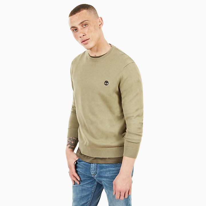 Manhan RiverCotton CrewNeck Sweater in Green-