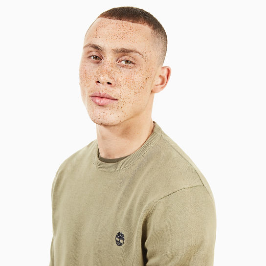 Manhan River Cotton Crew Neck Sweater in Green | Timberland