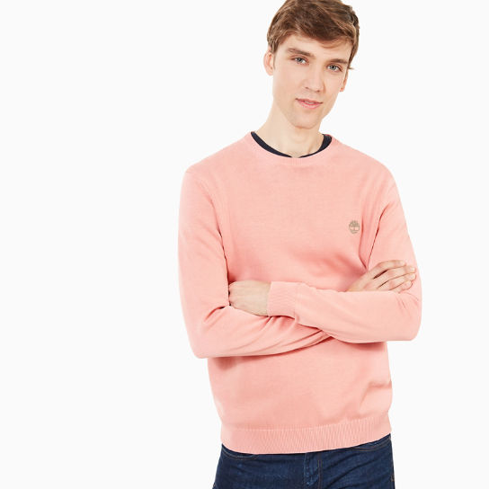 Manhan River Cotton Crew Neck Sweater in Pink | Timberland