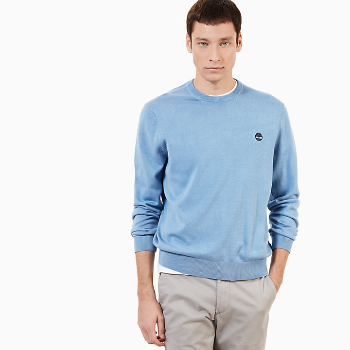 Manhan River Cotton Crew Neck Sweater in Blue-