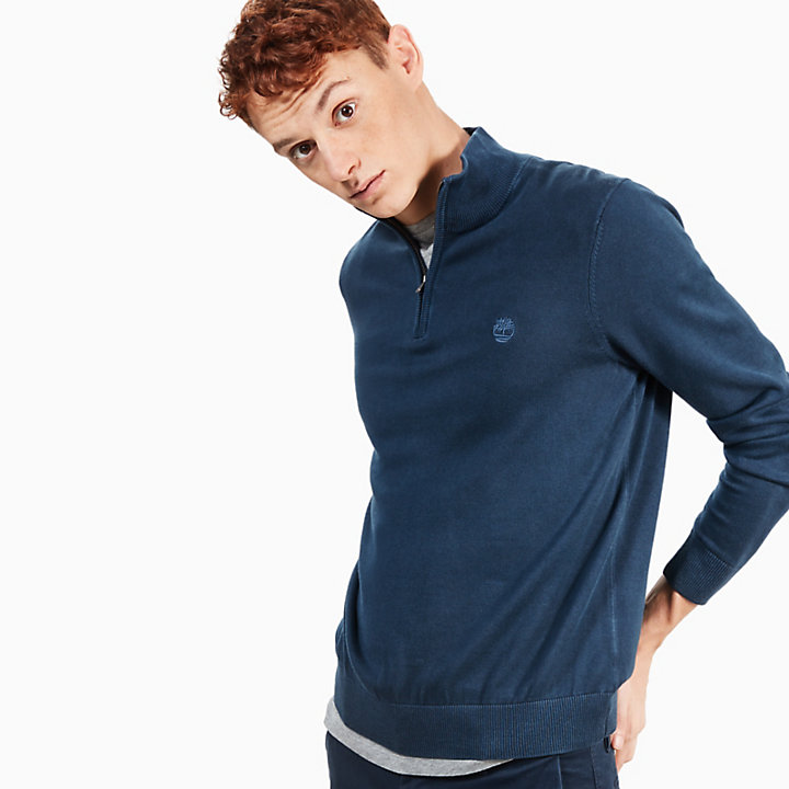 Manhan River V-Neck Sweatshirt for Men in Navy-