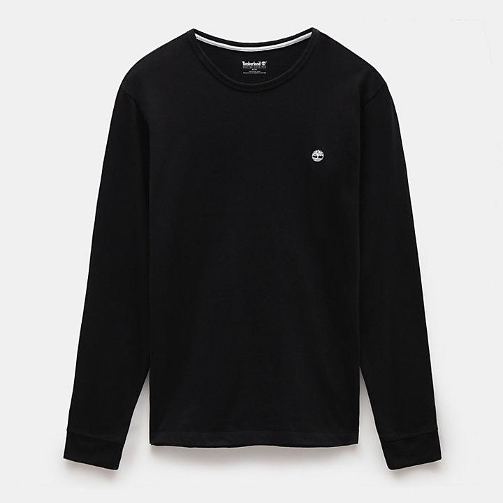 Dunstan River Langarm T-Shirt für Herren in Schwarz-