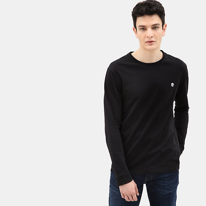 T-shirt a Maniche Lunghe da Uomo Dunstan River in colore nero-