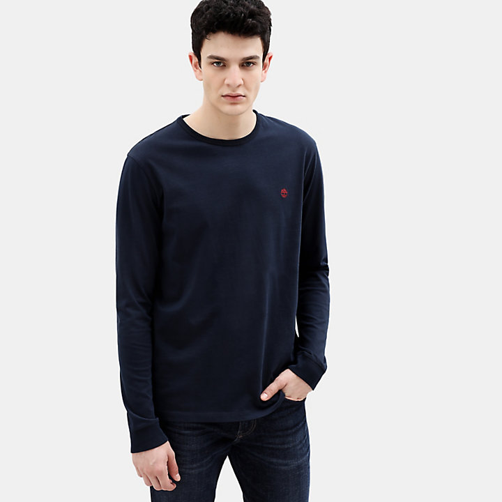 Dunstan River Long Sleeve T-Shirt for Men in Navy-