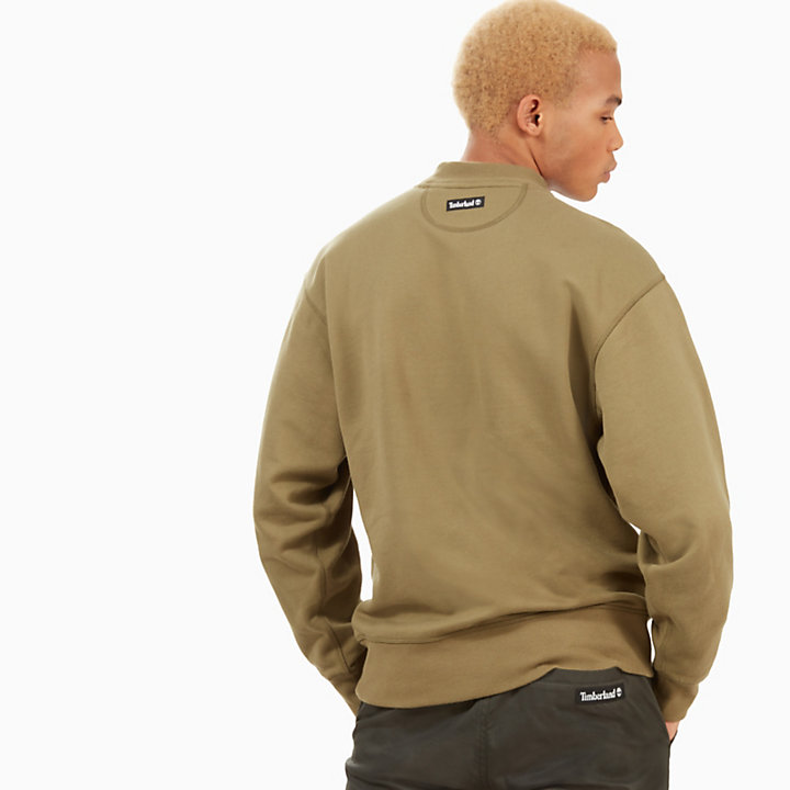 Oversized Crew Neck Sweatshirt for Men in Green-