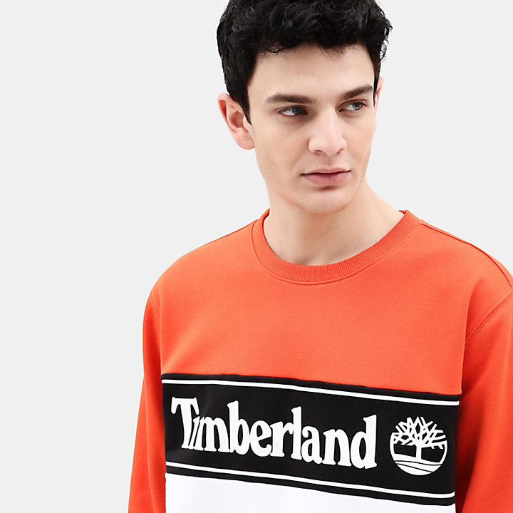 Sweat-shirt à application pour homme en Orange-
