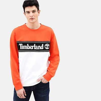Sweatshirt+mit+Applikation+f%C3%BCr+Herren+in+Orange