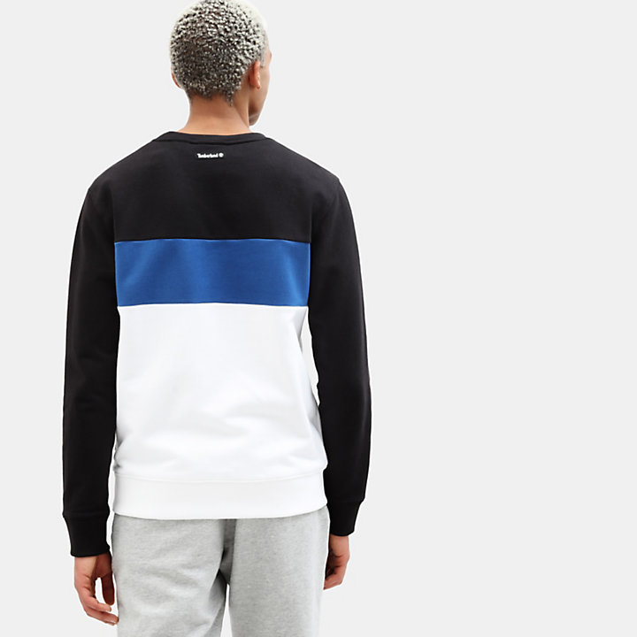 Sweat-shirt à application pour homme en noir/blanc-