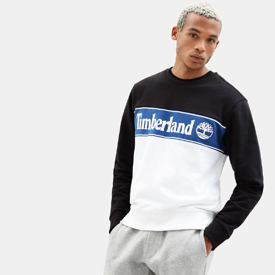 Sweat-shirt à application pour homme en noir/blanc | Timberland