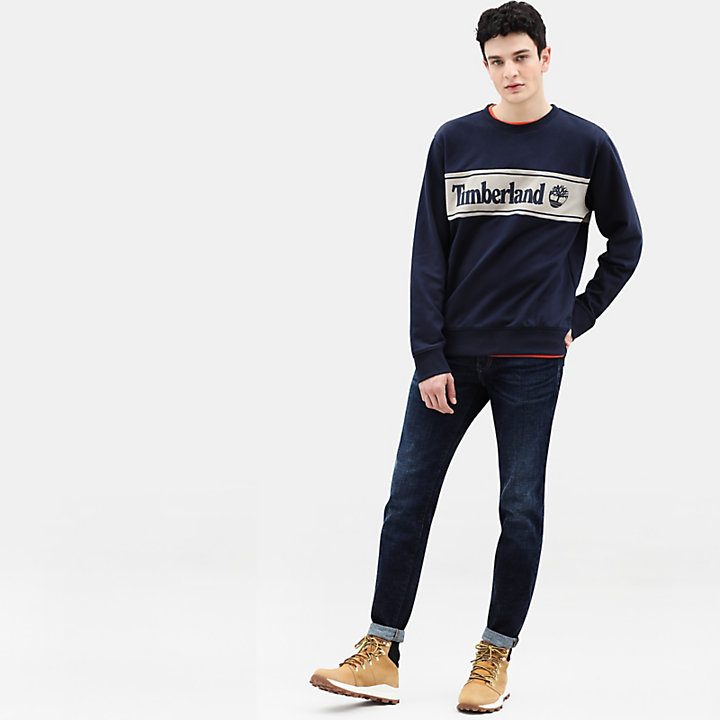 Sweat-shirt à application pour homme en bleu marine-