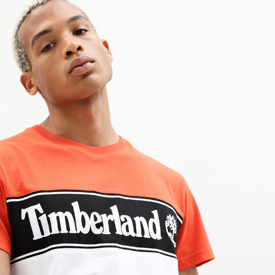 Linear Logo T-shirt for Men in Orange | Timberland