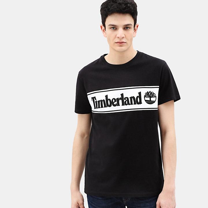 T-shirt à logo linéaire pour homme en noir-