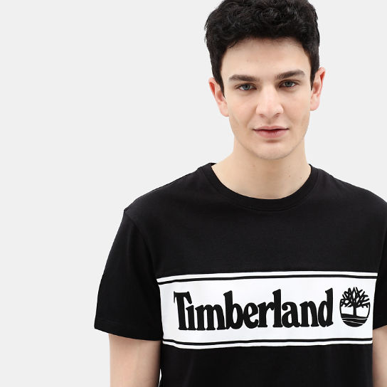 Linear Logo T-shirt for Men in Black | Timberland