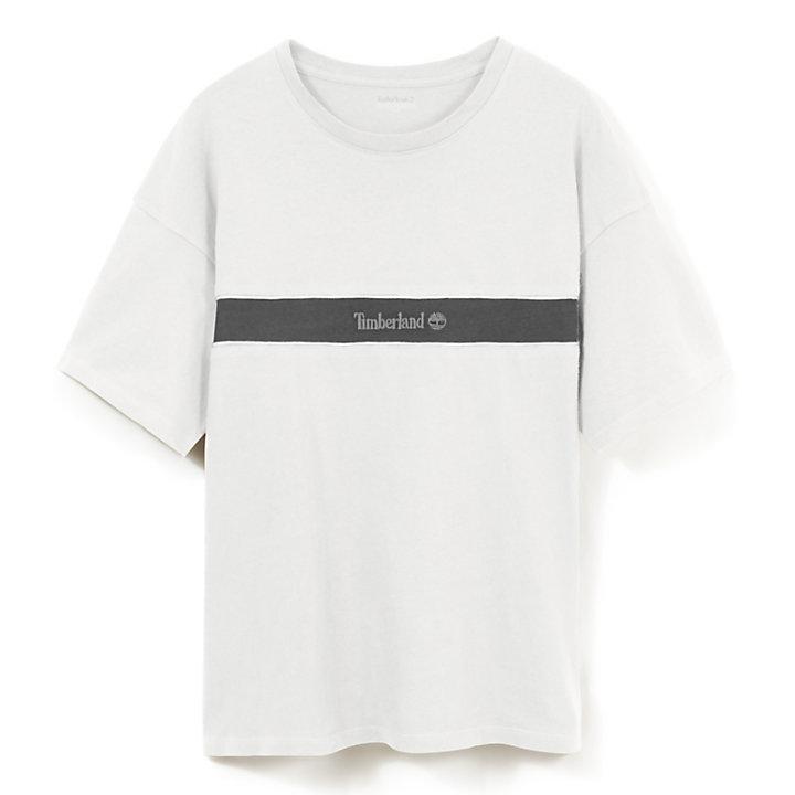 Camiseta con Raya en Contraste para Hombre en Blanco-