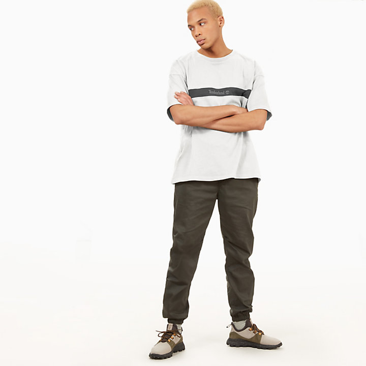 T-Shirt mit Kontraststreifen für Herren in Weiß-