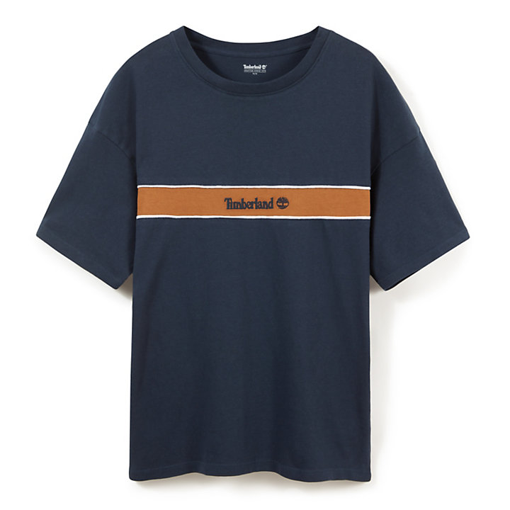Contrast Stripe T-Shirt for Men in Navy-