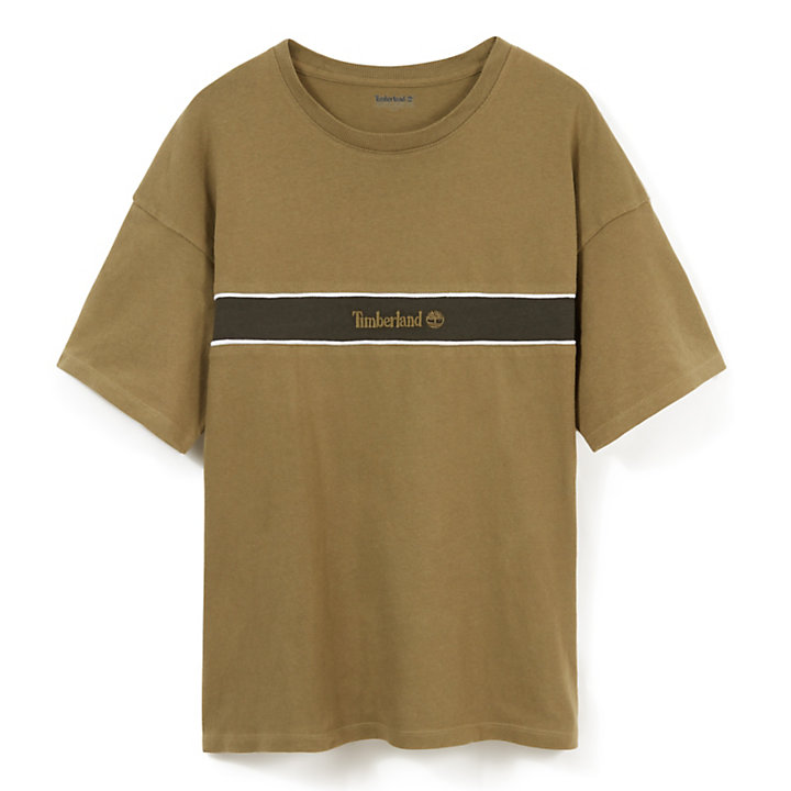Contrast Stripe T-Shirt for Men in Green-