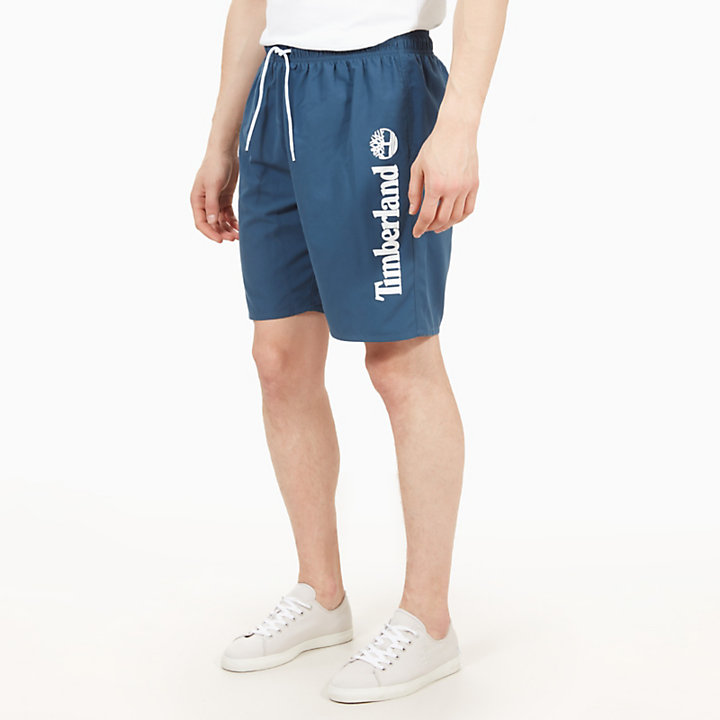 Sunapee Lake Logo Swimming Trunks for Men in Indigo-