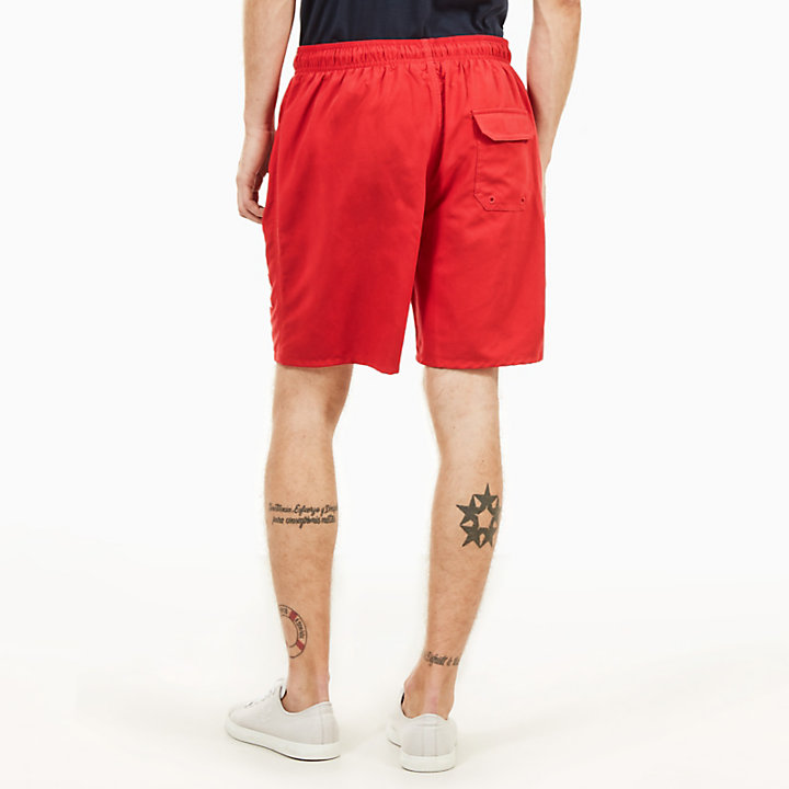 Sunapee Lake Logo Swimming Trunks for Men in Red-
