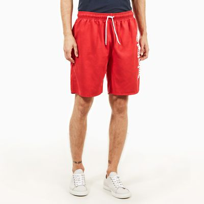 Sunapee+Lake+Logo+Swimming+Trunks+for+Men+in+Red