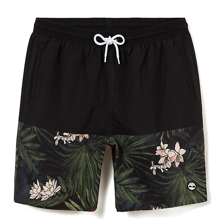 Sunapee Lake Print Leisure Shorts for Men in Black-