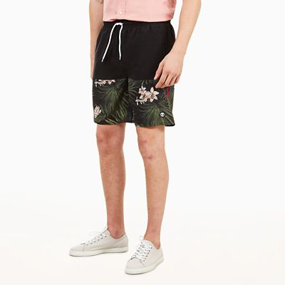 Sunapee+Lake+Print+Leisure+Shorts+for+Men+in+Black